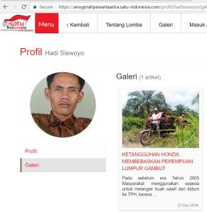 Hadi Siswoyo dalam website pengumuman pemenang Anugerah Pewarta Sastra.